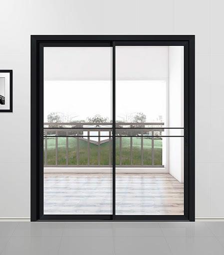 Back Powder Coating Single Double Glass Aluminum Profile Sliding Patio Doors