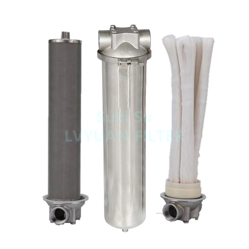 4.5x10'' 4.5x20 inch Jumbo Stainless Steel 304 316L Cartridge Ultrafiltration Water Purifier Filter with housings 1 2 3 stages