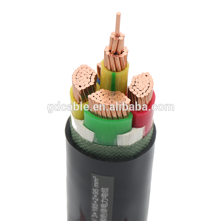 YJV3X185+2X95 different types of cables low voltage XLPE 0.6-11kv 3+2 power cable manufacturers PE insulation cables price