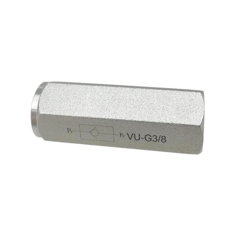 VU-G1/4 VU-G3/8 VU-G1/2 VU-G3/4 Slivery VU Type Carbon Steel 2 Way High Pressure Check Valve