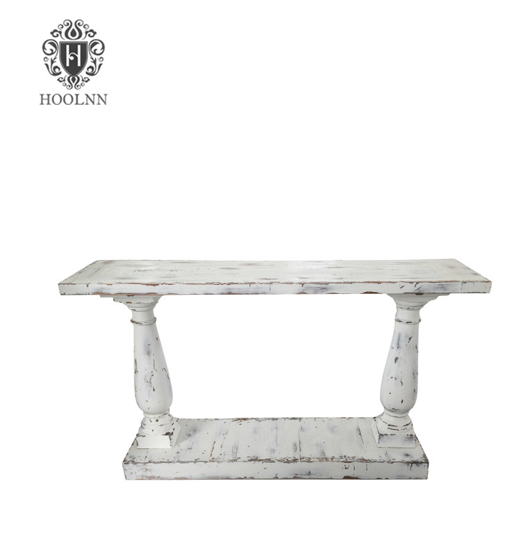 Distressed White Console Table HL291W