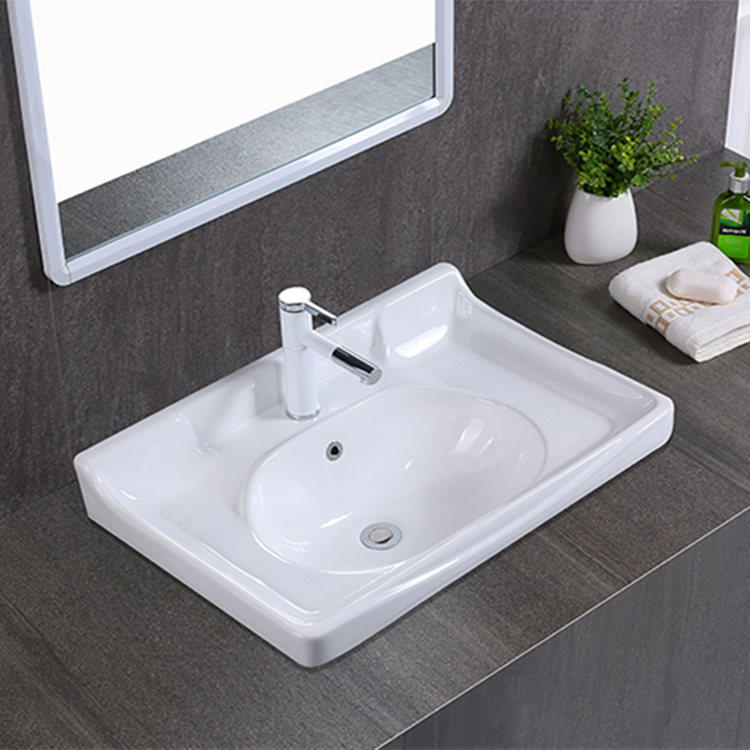 Sanitary ware white installing bathroom basin for cabinet