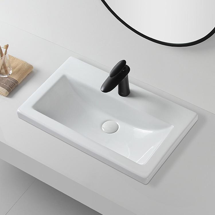 Ceramic square table top basin bathroom sink