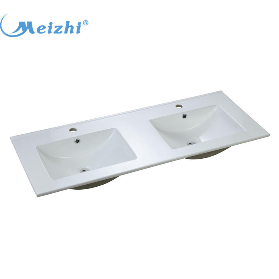 Ceramic bathroom double bowl sink wash hand basin
