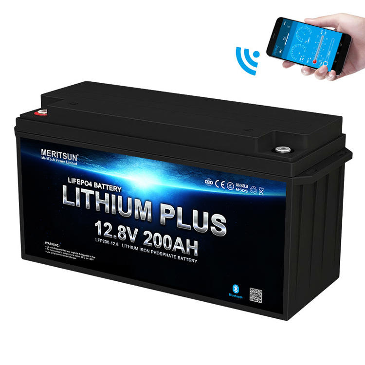 Li-ion Lifepo4 Battery Pack 12v 200ah Lifepo4 Battery and Bms 12v 200ah with Free MERITSUN APP Control
