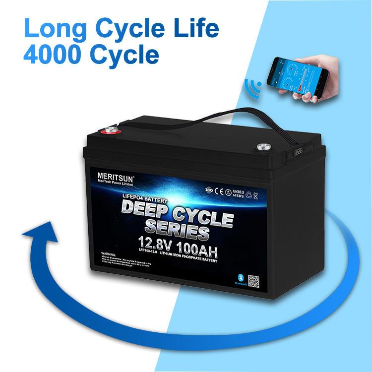 Lipo Battery 12v 100ah Lifepo4 Battery Free MERITSUN APP Control 10 Years>4000 Cycles @1C 80%DOD