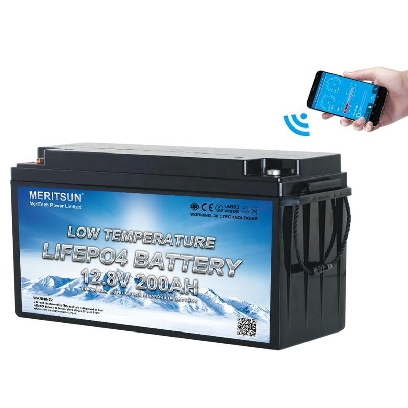 MeritSun low temperature 12V 100AH Lithium battery with bluetooth and self heating for Marine Solar energy system