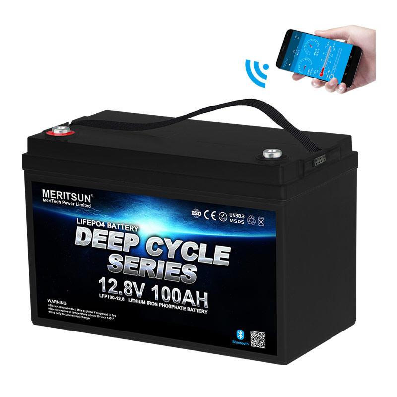 Lipo Battery 12v 100ah Lifepo4 Battery Free MERITSUN APP Control 10 Years >4000 Cycles @1C 80%DOD