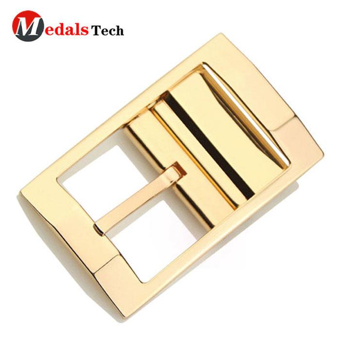 Fashion cheap custom gold plated safety metal coatbelt buckle