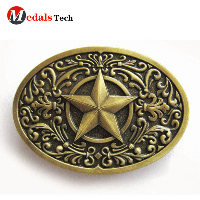 Promotional custom military antique gold belt buckle for men