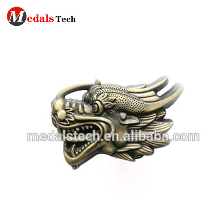 Design Your Own Custom Metal 3D Antique Gold dragon Head Belt Buckles