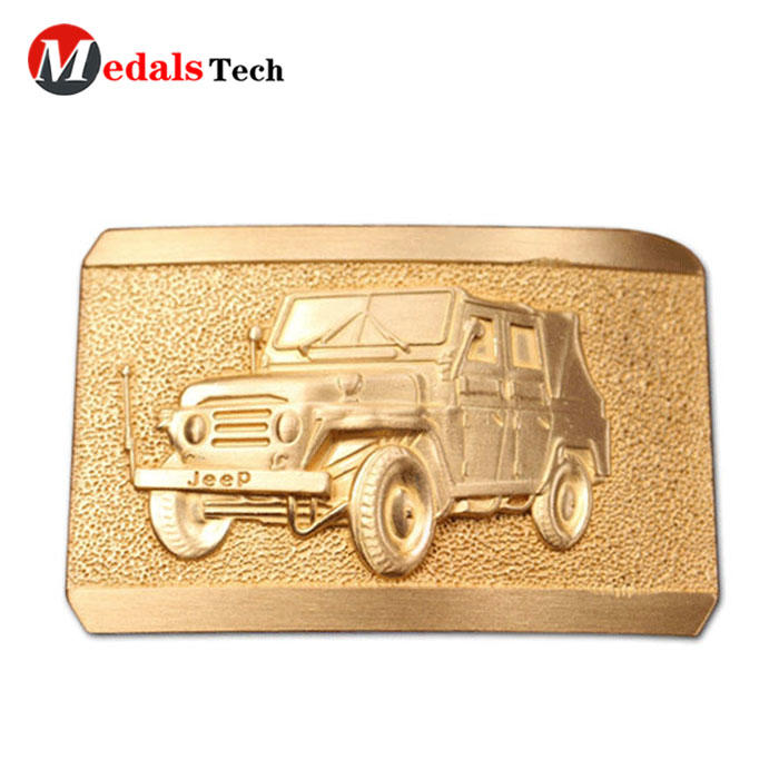 custom logo sandblast men make gold metal belt buckle