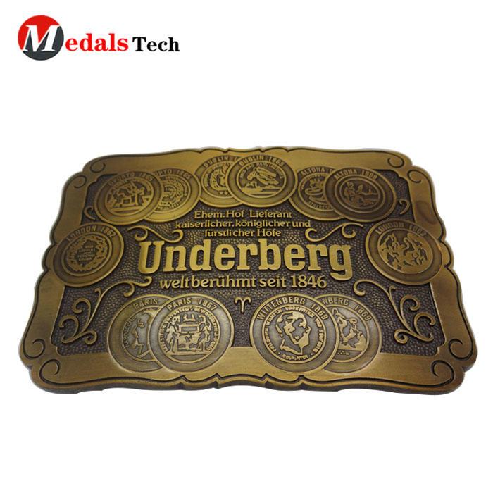 Custom logo iron soft enamel brass plated military bulk belt buckle