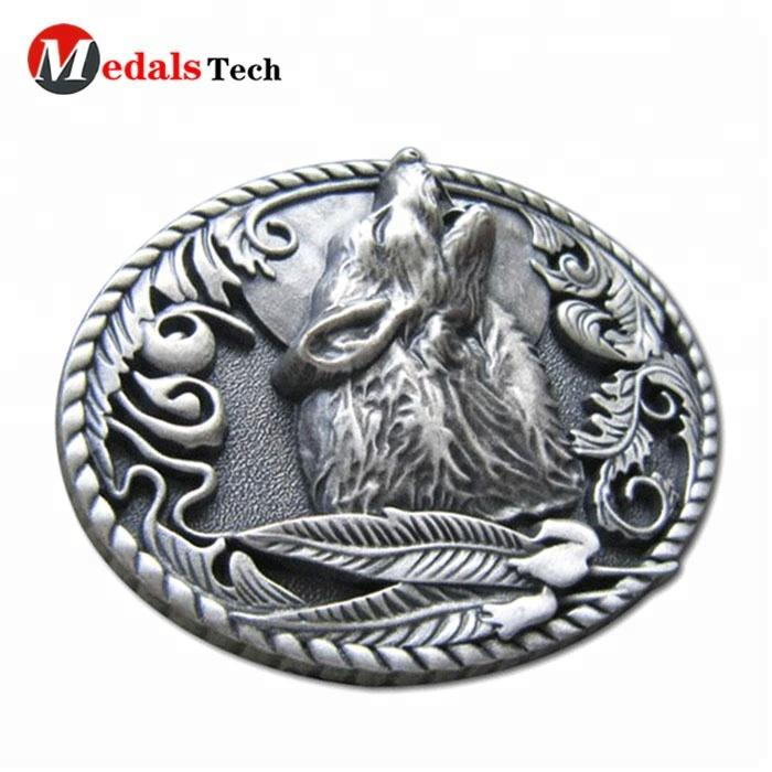 Custom personalized new design high quality low price metal 3d wolf belt buckle for kid