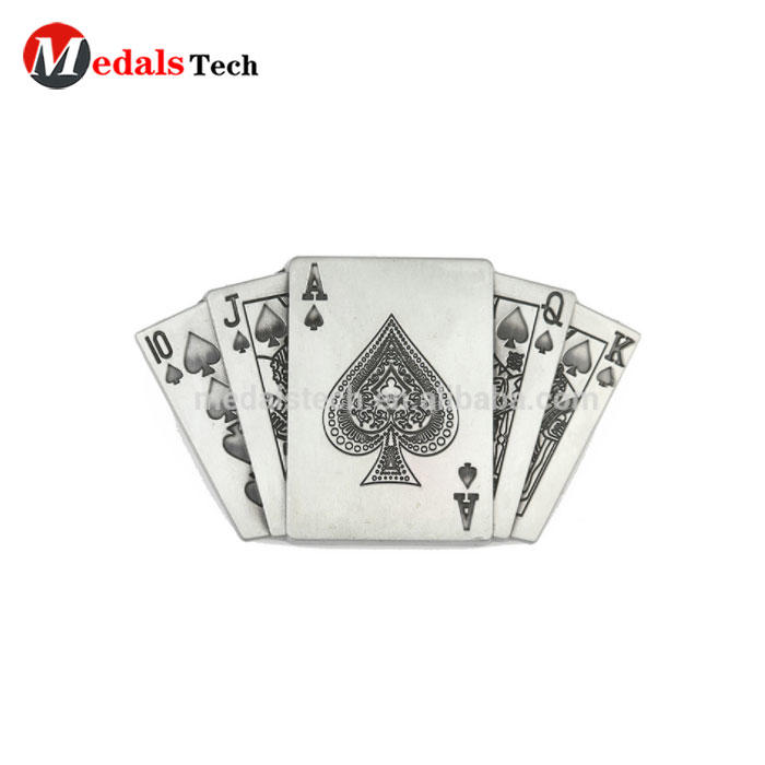 MTBB191 die casting custom antique plated alloy poker belt buckle
