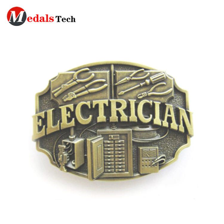 Wholesale promotion electrician antique bronze metal jackass belt buckle