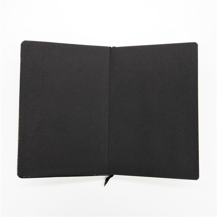 A5 gold foil hardcover book thread sewing pu leather custom black page notebook with logo