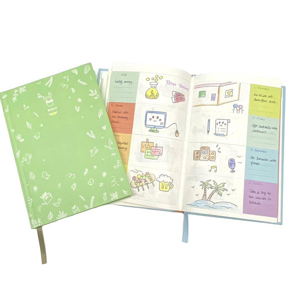 A5 Green Budget Planners Hardcover Printed Notebook Custom With Color Pages