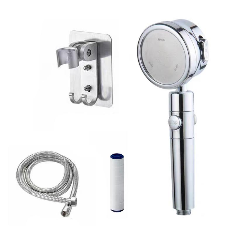 High Pressure Silver Water Saving Filter Hand PP Cotton Bath Shower Filter Anion Head Bathroom Tap Water Purifier
