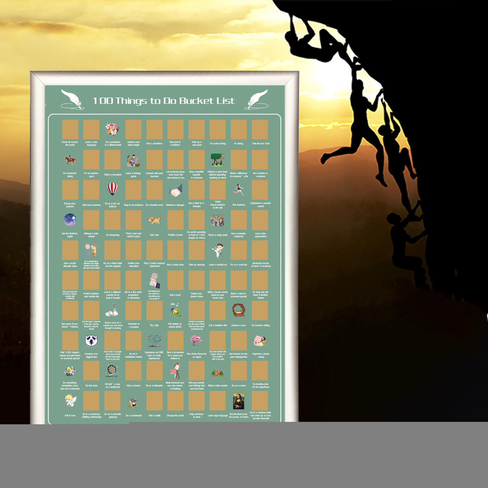 product-Dezheng-DDP OFF 100 Things to Do Bucket List Scratch off Poster-img-1