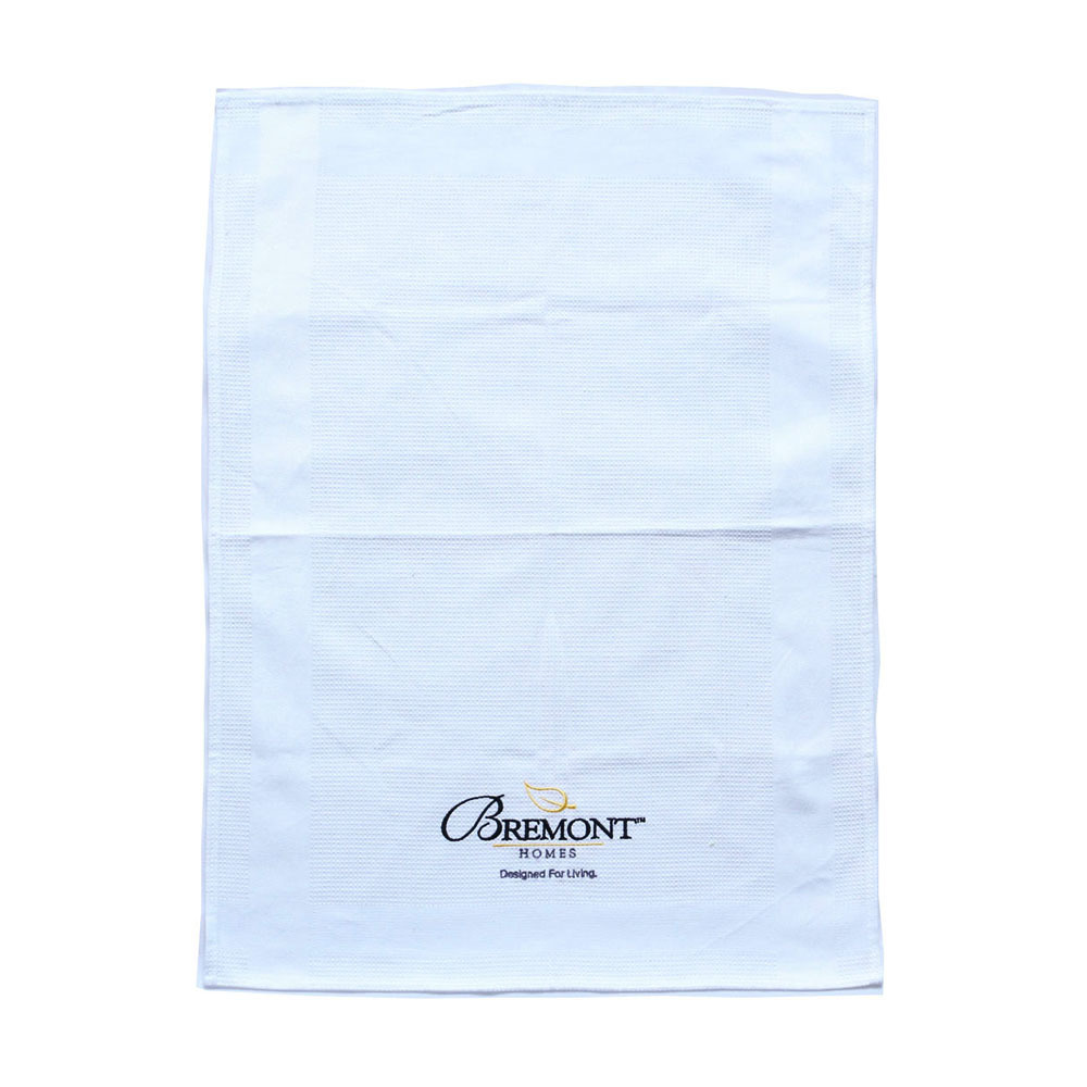 custom 100% cotton waffle embroidery plain white tea towel