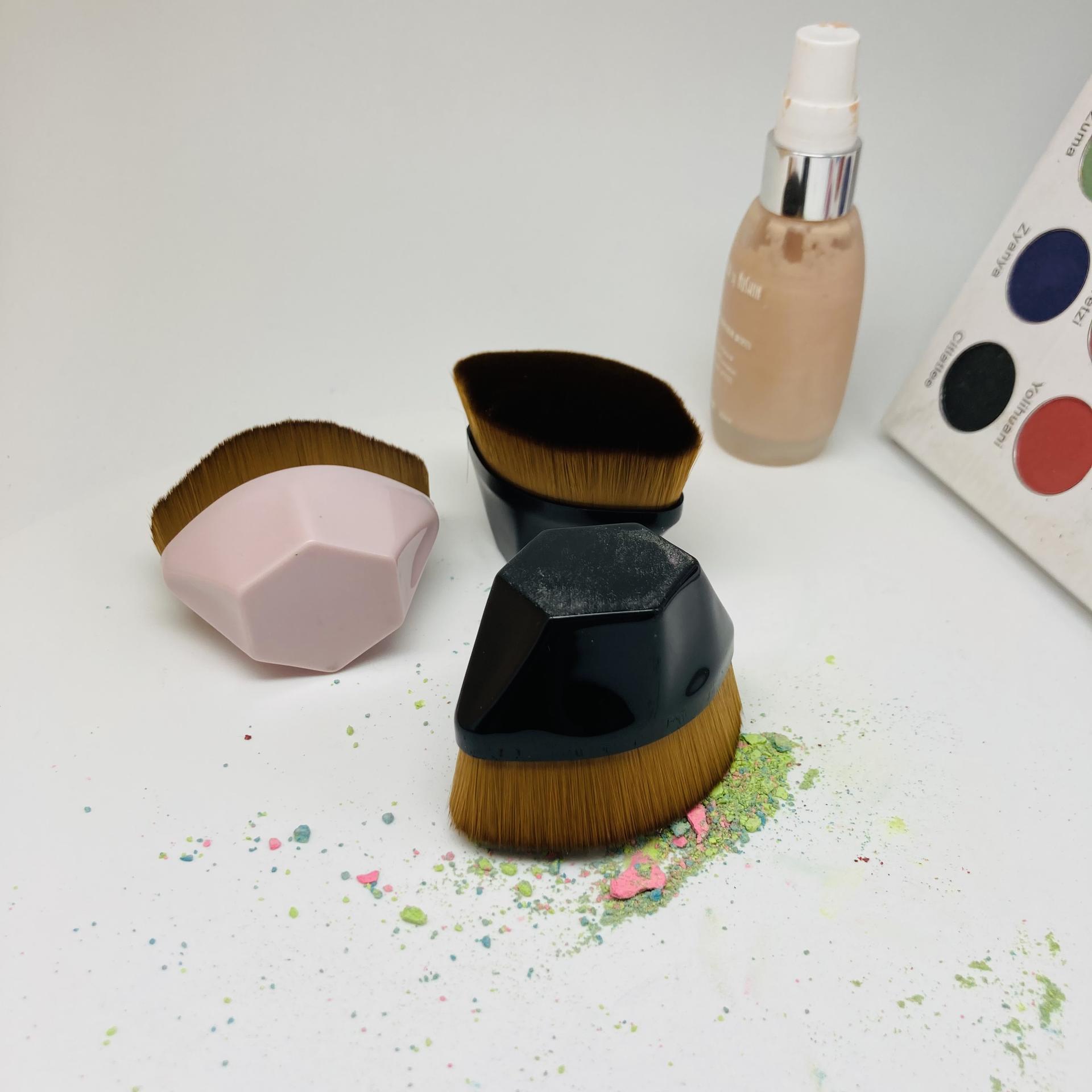 powder sunscreen brush custom logo single singel loose soft flat makeup powder brush kabuki
