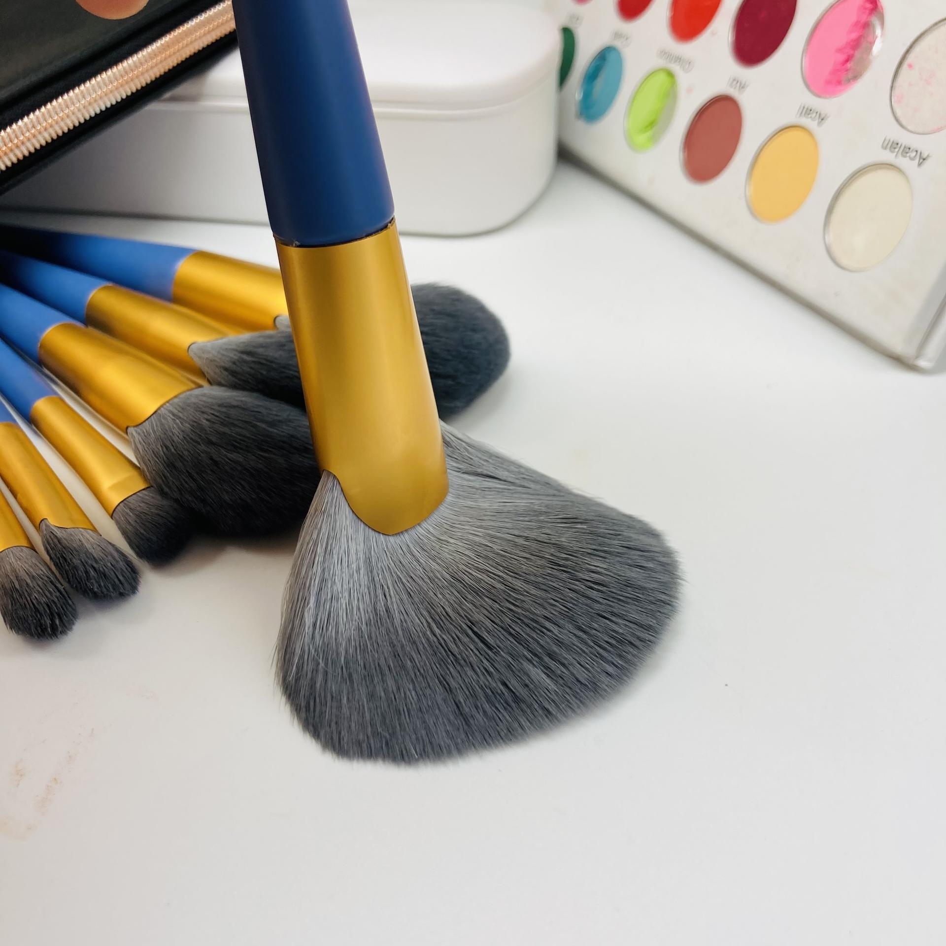 Synthetic hair Face fan brush make-up brush rose gold maquillaje soft makeup brush set