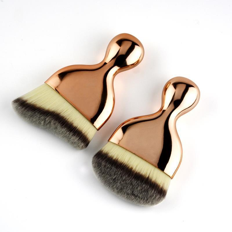 Curved foundation brush private label synthetic hair big size flat foundation brush
