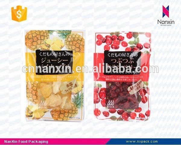 dried fruit snack packaging three side seal bag with window