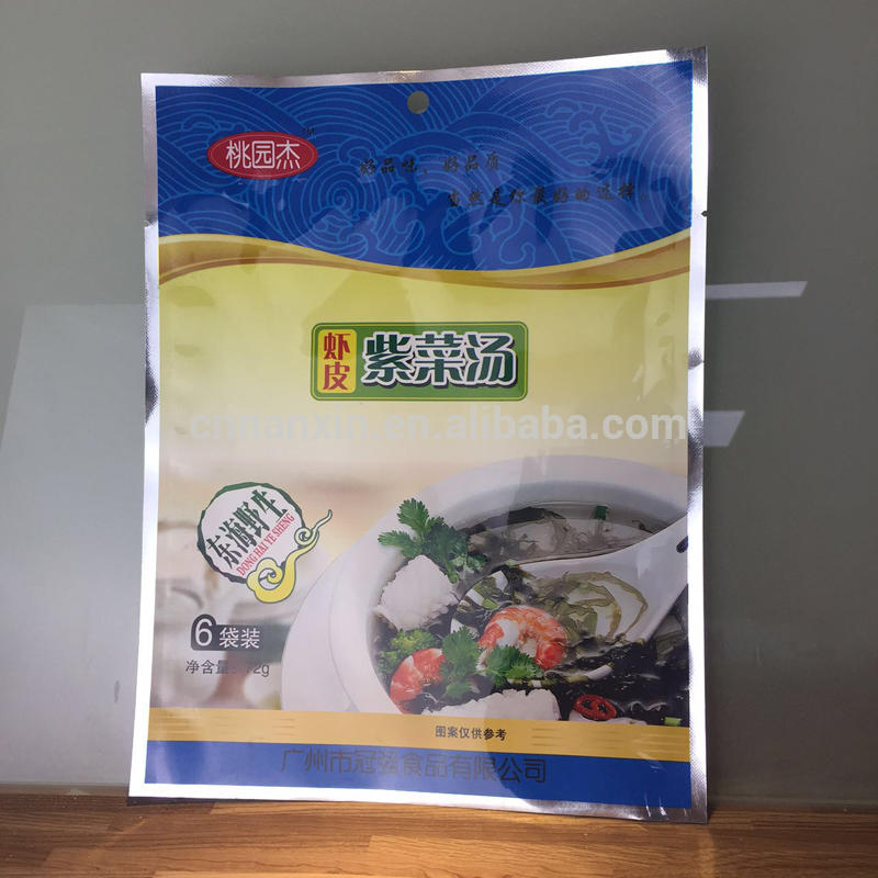Food grade heat seal plastic bag with grib hole