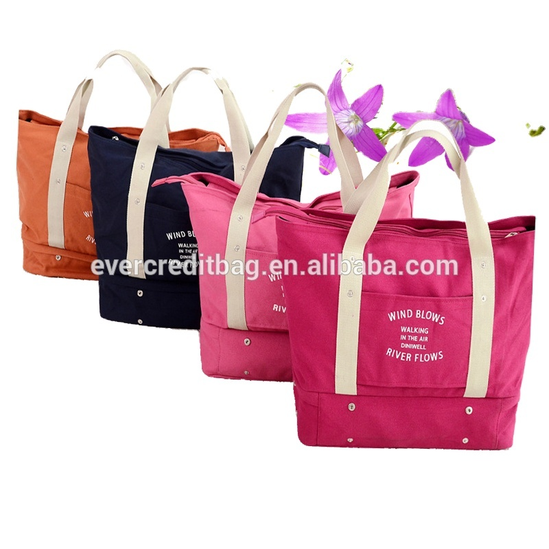 Multi-Function Canvas Shoulder Bag with Shoe Compartment OEM Welcome