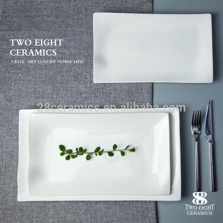 Banquet china housewares ceramic platters porcelain rectangle flat plate for fancy hotel