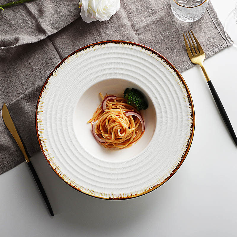 Catering Buffet Serving Set Modern Restaurant Hand Made Ceramic Dinner Plates^