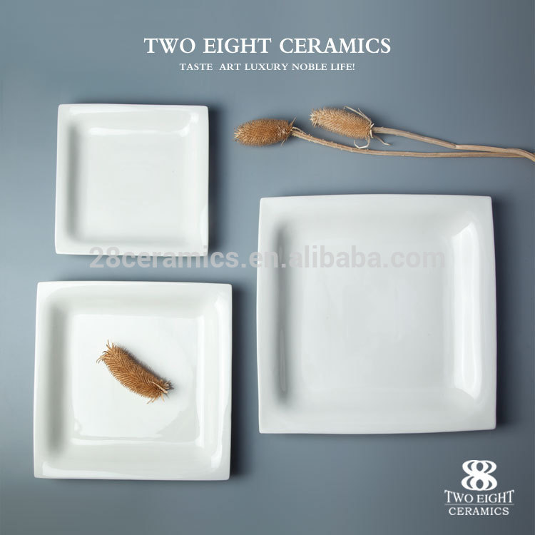 Hotel Fine personalized Chaozhou dinner blank ceramic plate dish fancy Square tray for hotel