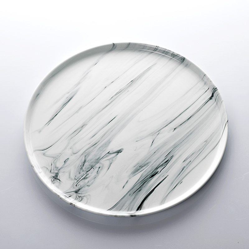 Catering Crockery Banquet Wholesale Dinnerware Porcelain Flat Plate Marble Ceramic for Hotel Buffet>