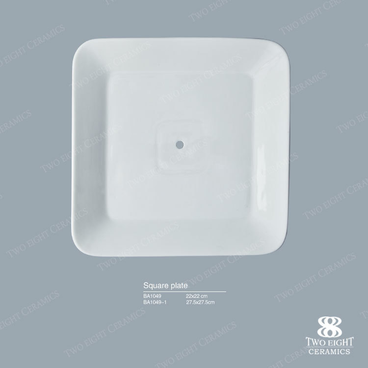 white wedding serving plate porcelain 2 tiers square bread hotel plate