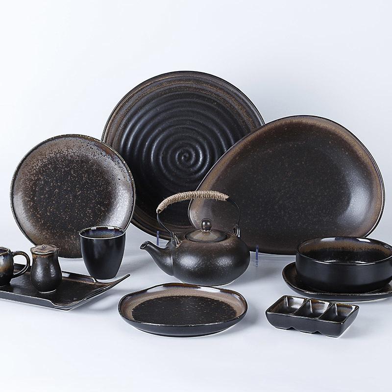 Japanese Style Restaurant Porcelain Dinnerware Black Ceramic Tableware Sushi Plate Set^