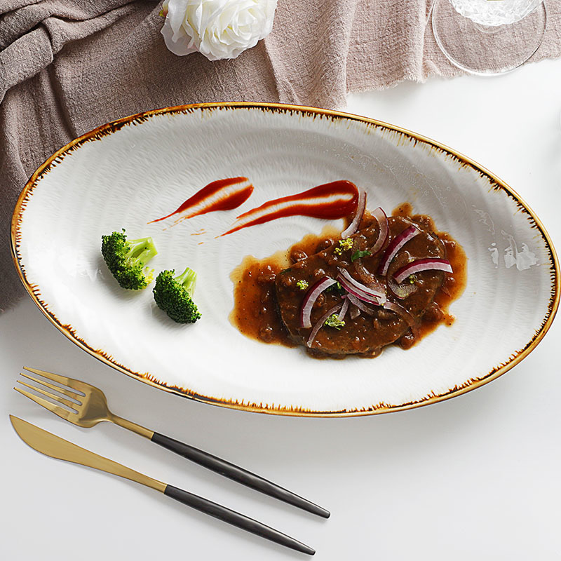 Investment In The Maldives Dishes Plates Ceramics Rectangle, Ceramic Steak Plate, Restaurant Rectangular Serving Plate