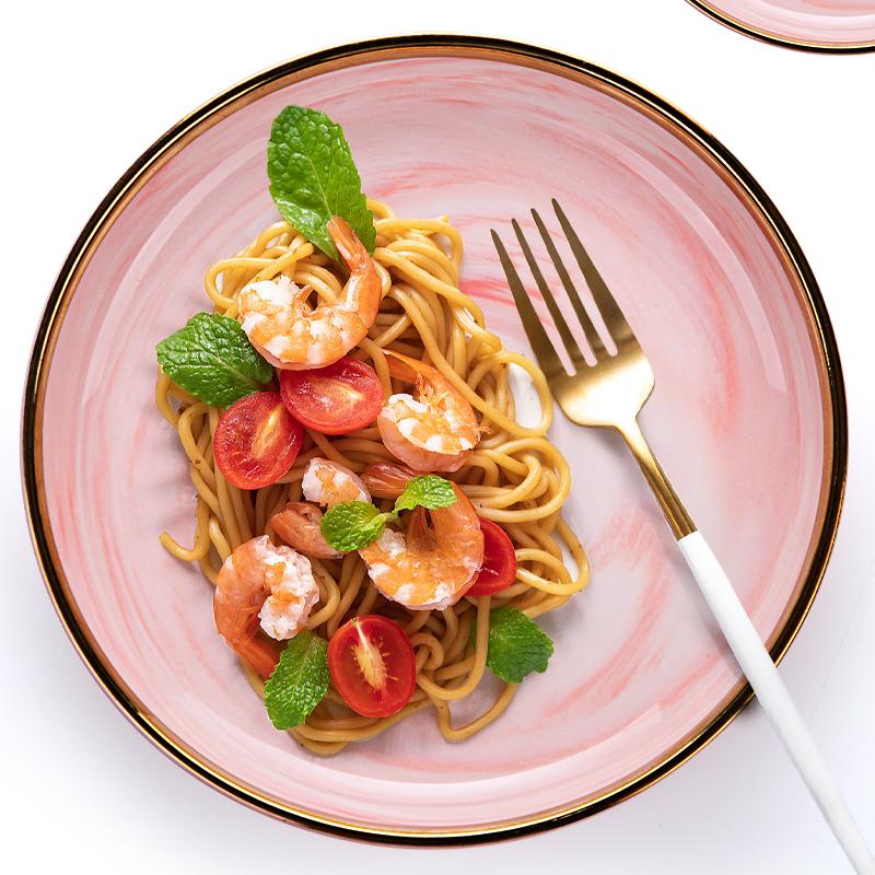 Porcelain Dinnerware Gold Rim Pink Ceramics Plate, Nordic Porcelain Dinner Dishes, Crockery Tableware for Restaurant