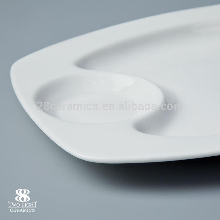 Cheap bulk catering dinner rect porcelain plates restaurant dual purpose tableware restaurant&
