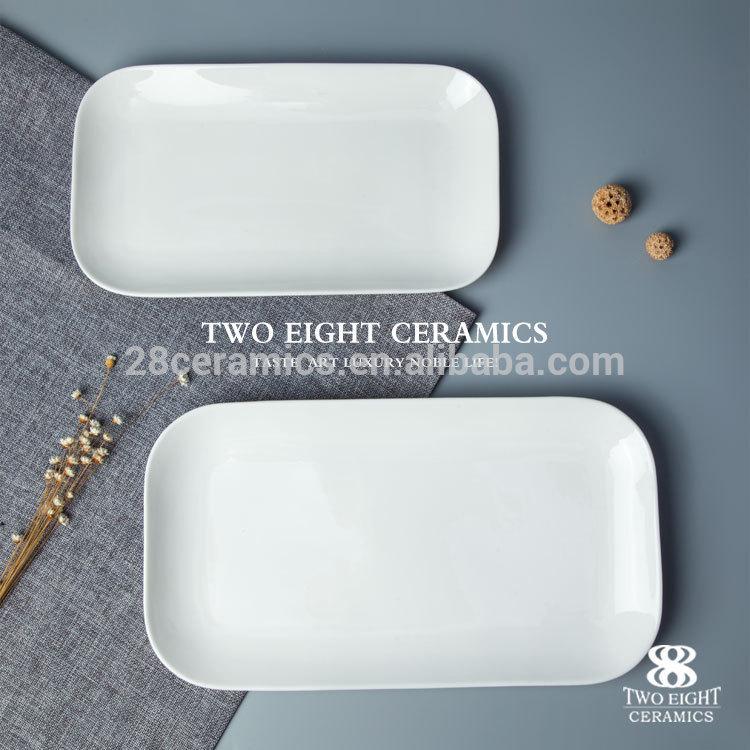 crockery china housewares ceramic platters factory round trim rectangle porcelain plate Eco-Friendly fancy hotel & restaurant