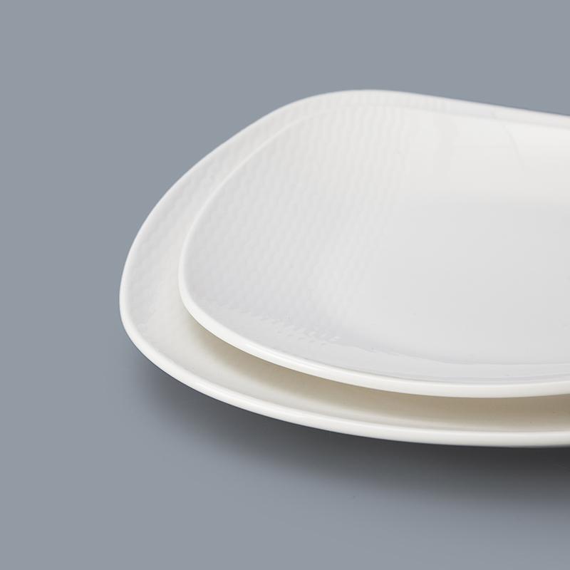best sellingwhite western hotel ceramic irregular square plate porcelain