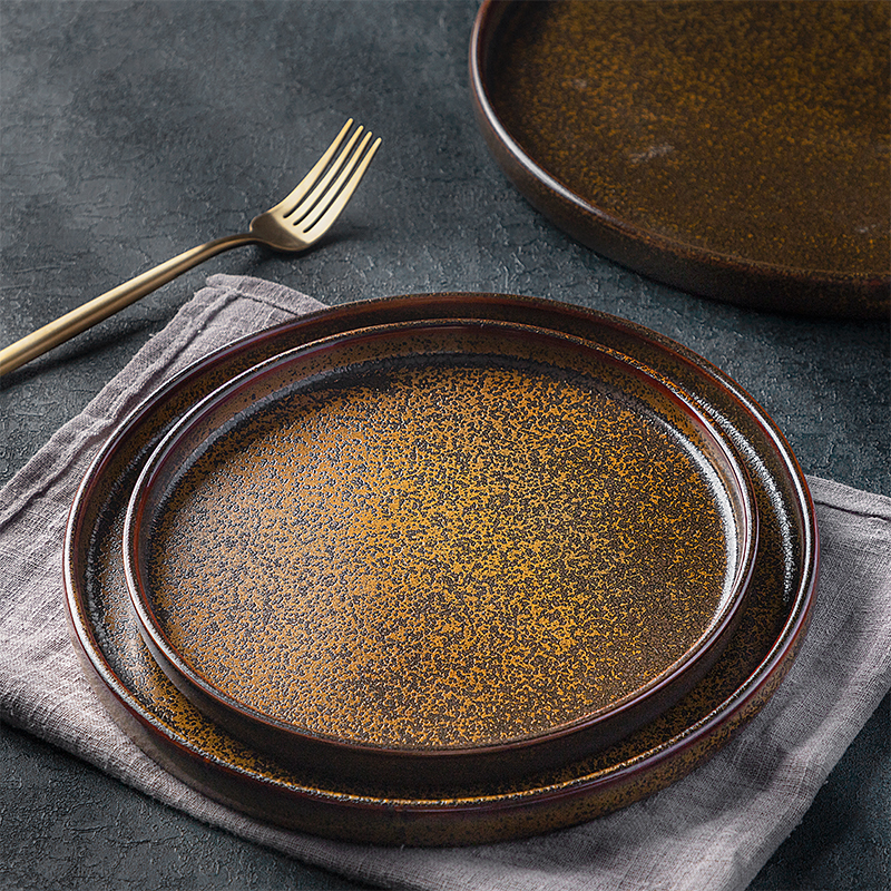 Rustic Style Trend in 2020 Artistic Tableware Hotel Restaurant Ceramics Dinner Plate Steak Plate