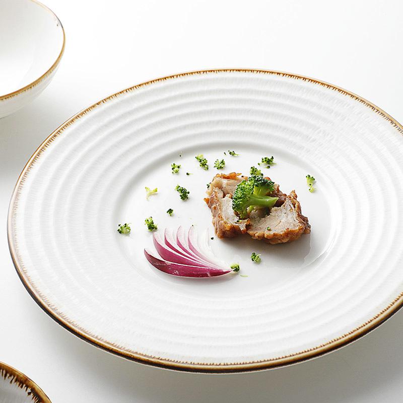 New Color Glaze Dinner Plates For Weddings, Bulk In Stock Custom Logo Dinner Plate/
