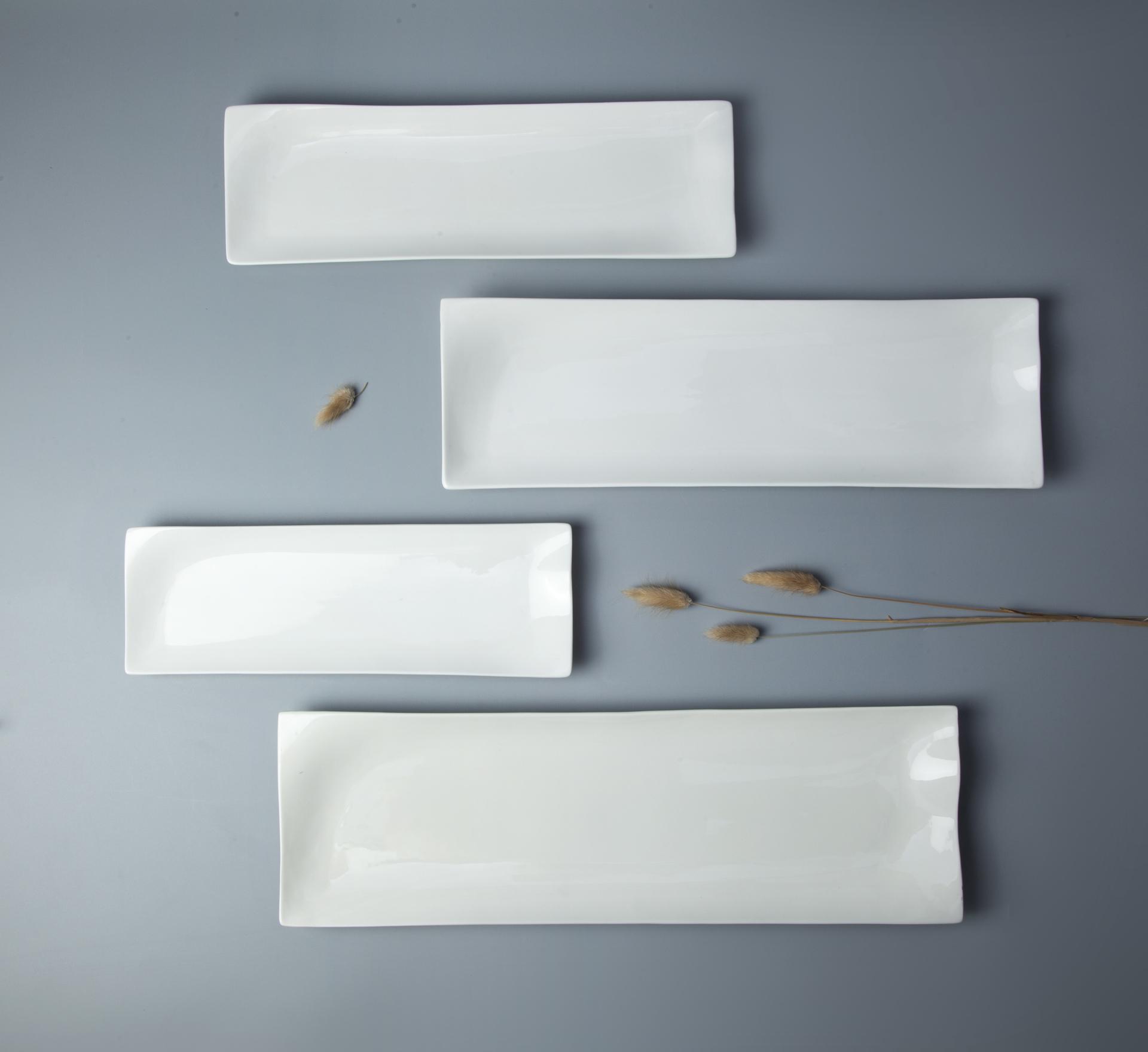 Exquisite popular design rectangle ceramic porcelain plate for hotel & restaurant