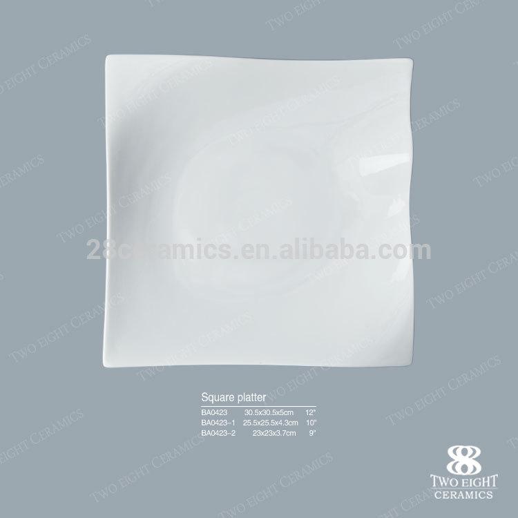 Customized logo square ceramics platters porcelain for kitchen durable material