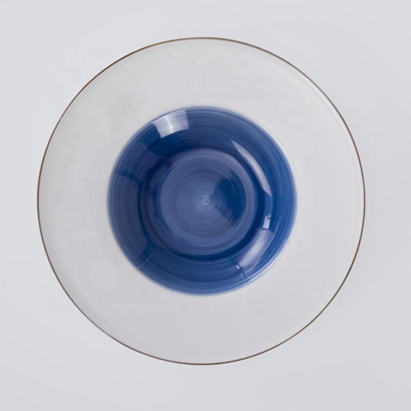 moroccan wholesale ceramic plates blue pasta soup plate porcelain
