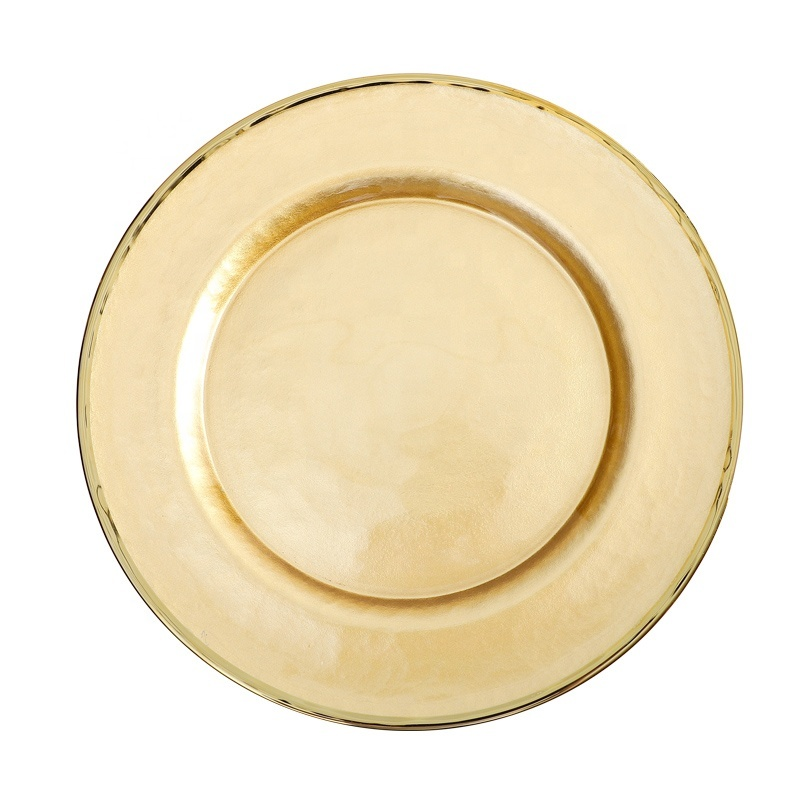 Color Changing Antique Gold Rim Glass Charger Plates Wedding Catering Plates for Banquet