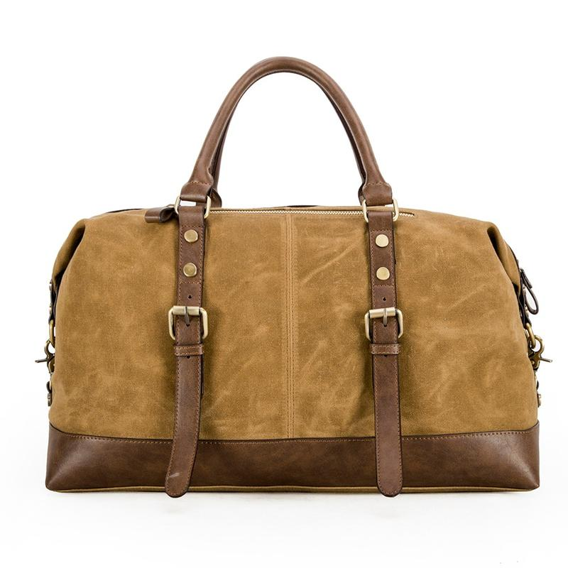 Retro Waxed Leather Canvas DuffelBag Weekend Travel Bag