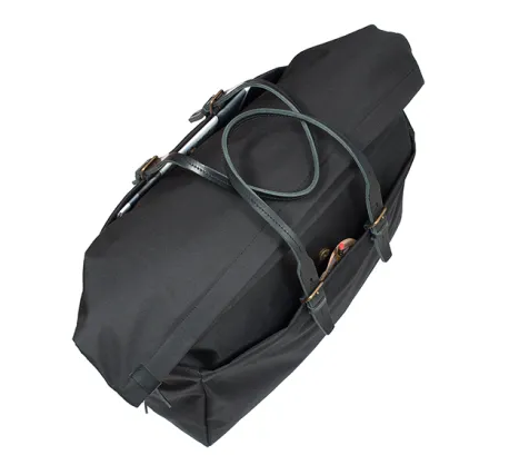 Wholesale Large Capacity Black Canvas Travel Bag Duffle with Leather Shoulder Strap
